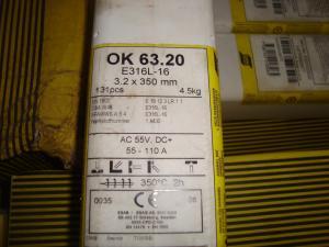 Esab Svetselektroder   OK 63.20 3,2mm 4,5kg/hylsa  Rostfri lämplig för tunnväggiga rör