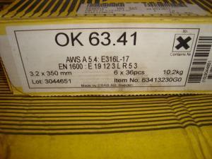 Esab Svetselektroder   OK 63.41 3,2mm 1,7kg/hylsa  Syrafast lågkolhaltig högutbyteselektrod!