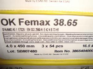 Esab svetselektroder Femax 38.65 Högutbyteselektrod  4,0mm 16,5kg/låda