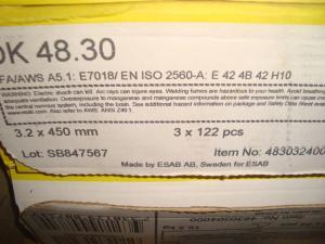 Esab Svetselektroder   ok 48.30 3,2mm 18kg/låda  Basiskelektrod för höga kvalitetskrav