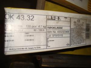 Esab Svetselektroder   OK 43.32 3,2mm 4,7kkg/hylsa Lättsvetsad  elektrod för tunnplåt !