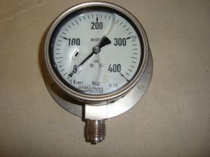 Rostfri manometer med vägg/golv fäste 400 bar
