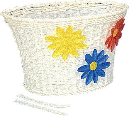 Cykelkorg för barn vit med blommor