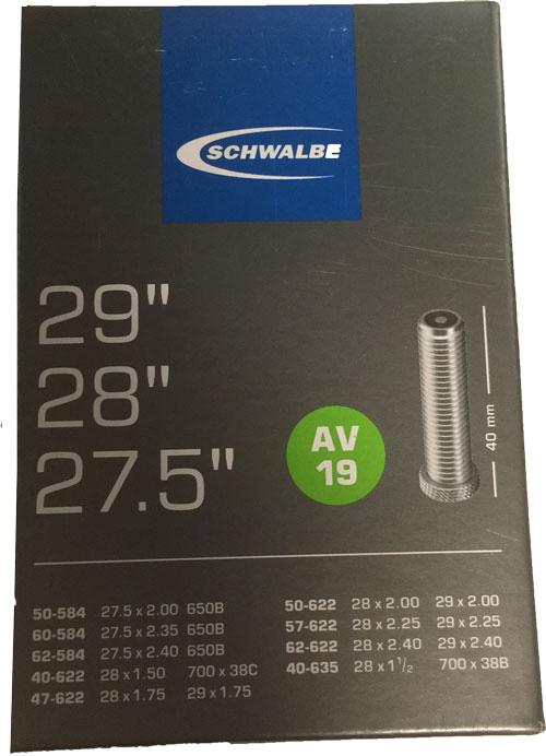 """Schwalbe 27,5/28/29"""" slang AV19 Bilventil"""