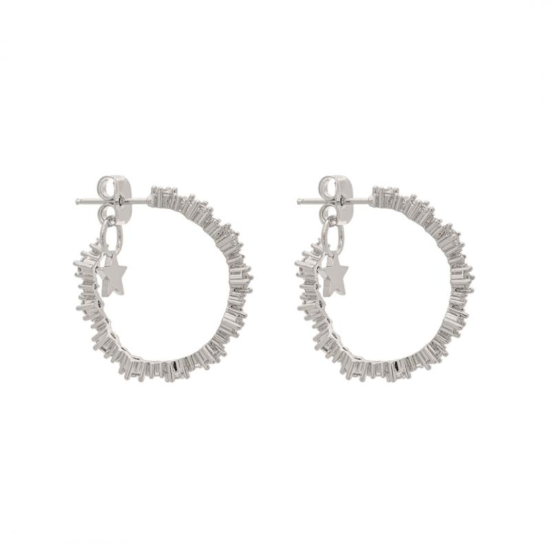 Capella Hoops Earrings - Crystal Silver