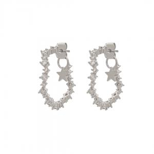 Capella Hoops Earrings - Crystal Silver