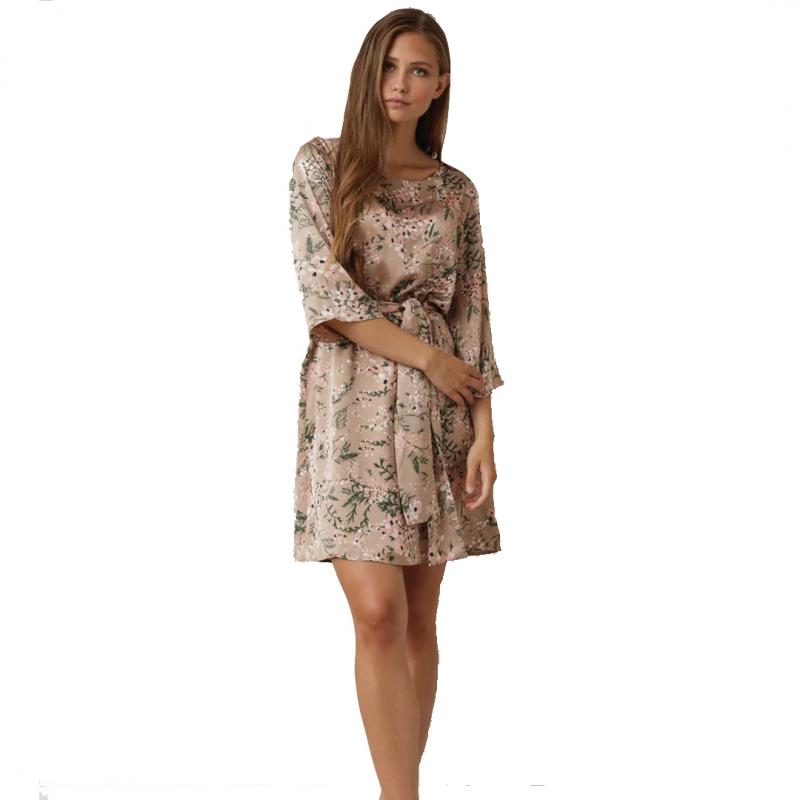 Katie Dress Beige Flower Print