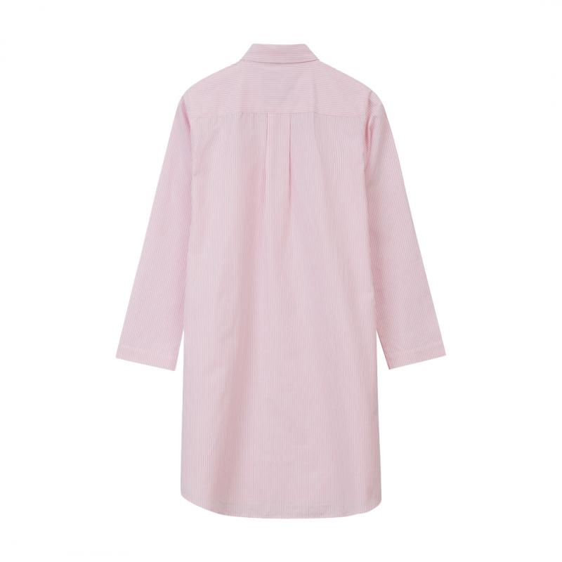 Womens Nightshirt Organic Pink/White