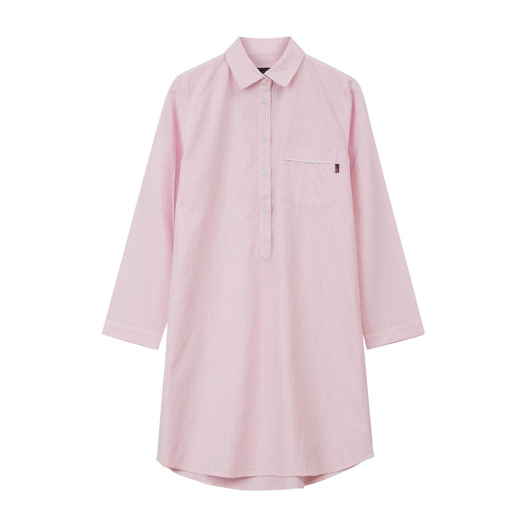 Womens Nightshirt Organic Pink/White