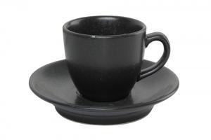 Kaffekopp med fat 8 cl svart