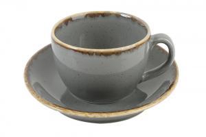 Kaffekopp med assiette 32 cl mörkgrå