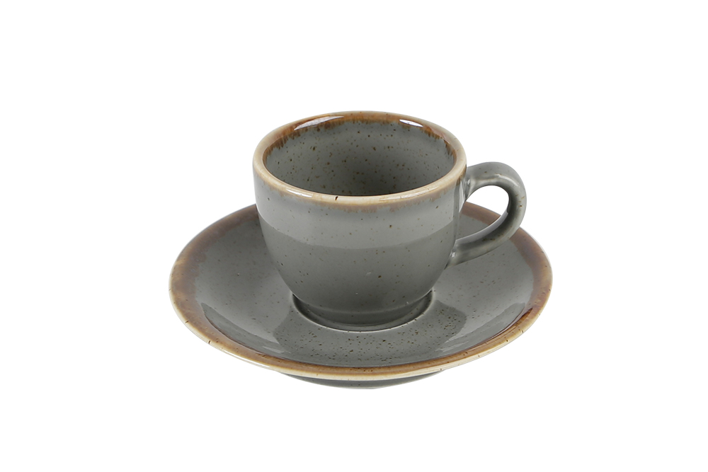 Dark Grey Coffee Cup And Saucer
