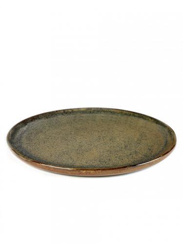 Tallrik 27 cm stengods grön brun