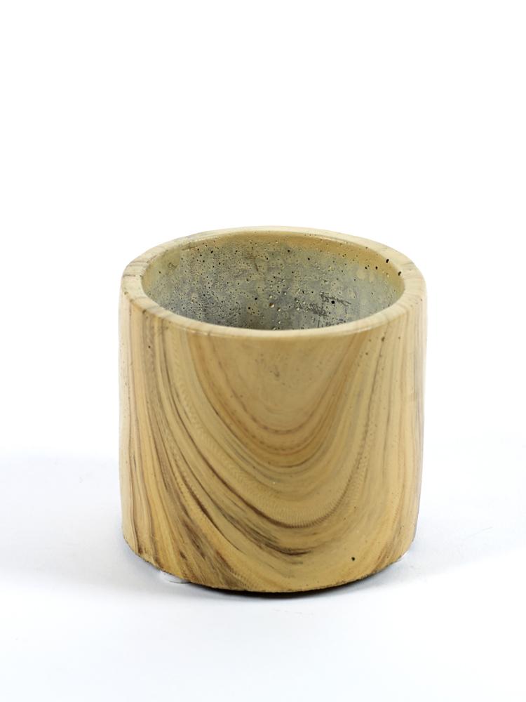 Cement Pot Woodlook Mini D9 H8