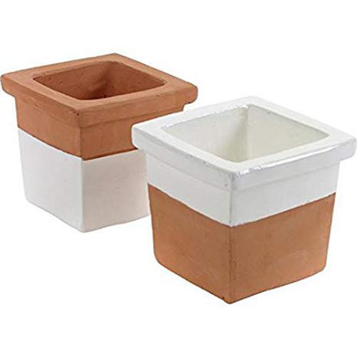 Square Pot Large D15 H13 Ass/2 Terra-White