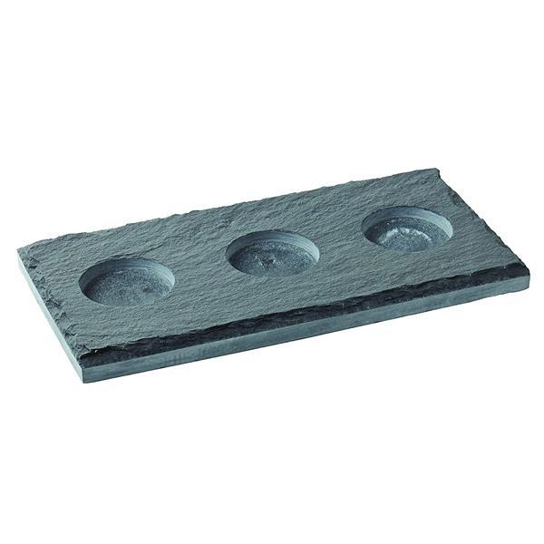 "Rectangular Slate Platter with 3 indents 10 x 5"" (26 x 13cm) (Indent dia: 5cm)"