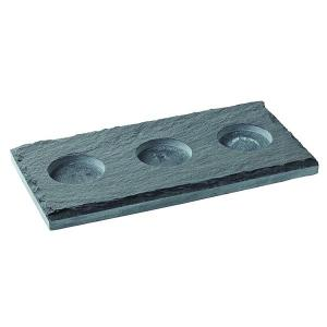 "Rectangular Slate Platter with 3 indents 10 x 5"" (26 x 13cm) (Indent dia: 5cm)"