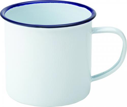 Emaljerad kopp 38 cl vit med blå rand