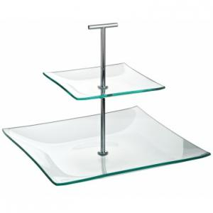 """Aura 2 Tiered Square Glass Plate 9.75, 5.75"""" (24.5, 14.5cm)"""