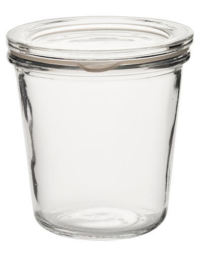 Burk med lock i glas 25 cl