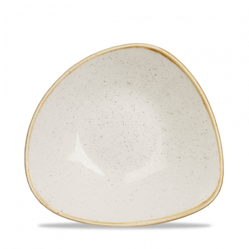 Tallrik trekantig djup 23,5 cm vit handmålad