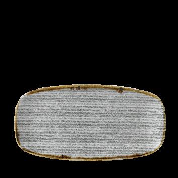 Rektangulär tallrik 29,8 x 15,3 cm grå med mönster