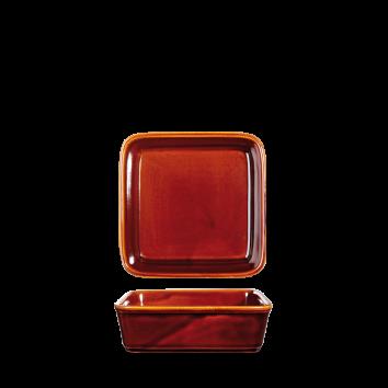 """Rustic Brown Square Deli Dish 5"""" Box 6"""