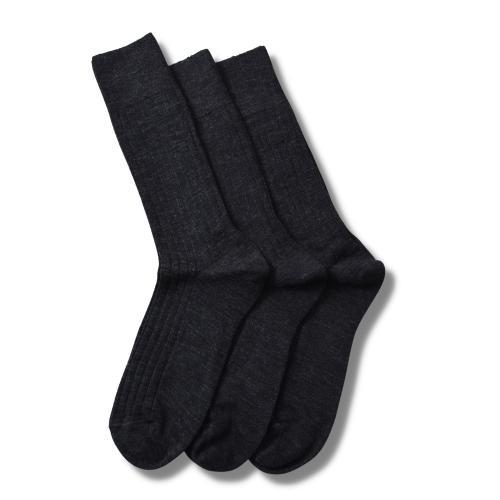 Merino Socks Rib Antracite 3-Pack