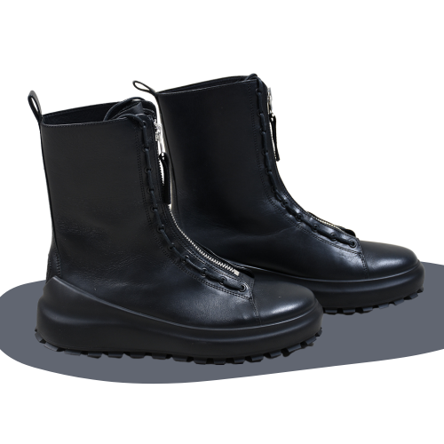 Leather Combat Boot Dual Lacing System