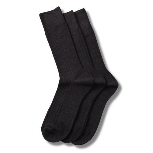Merino Socks Rib Brown 3-Pack