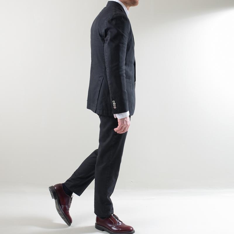 Black Slub Cotton Linen Tencel K-Jacket Suit