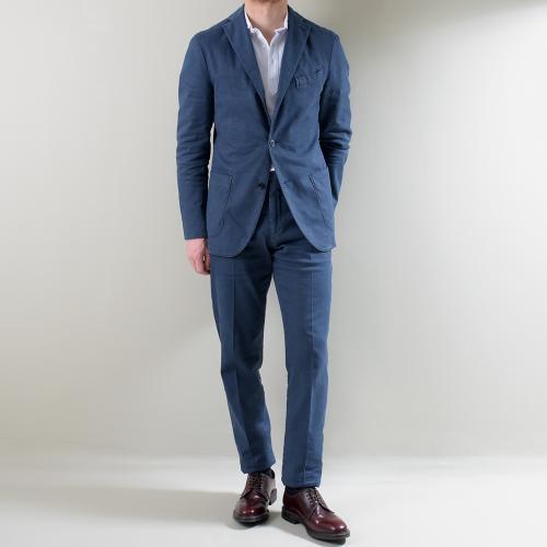 Blue Slub Cotton Linen Tencel K-Jacket Suit