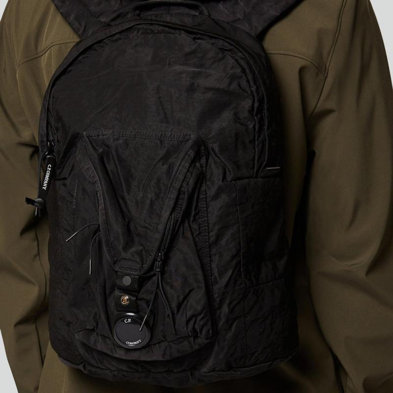Garment Dyed Nylon Sateen Lens Backpack Black