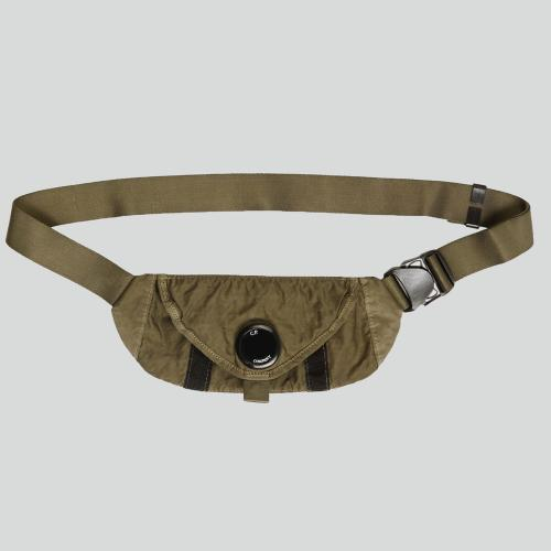 Garment Dyed Nylon Sateen Waist Bag Green