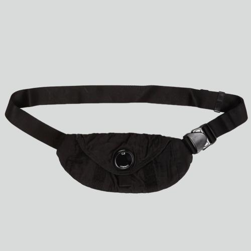 Garment Dyed Nylon Sateen Waist Bag Black