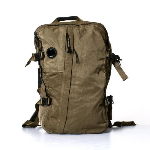 Garment Dyed Nylon Sateen Buckle Lens Backpack Green