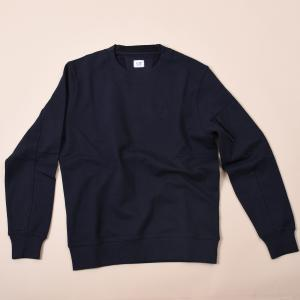 Diagonal Raised Fleece Crew Sweater Navy