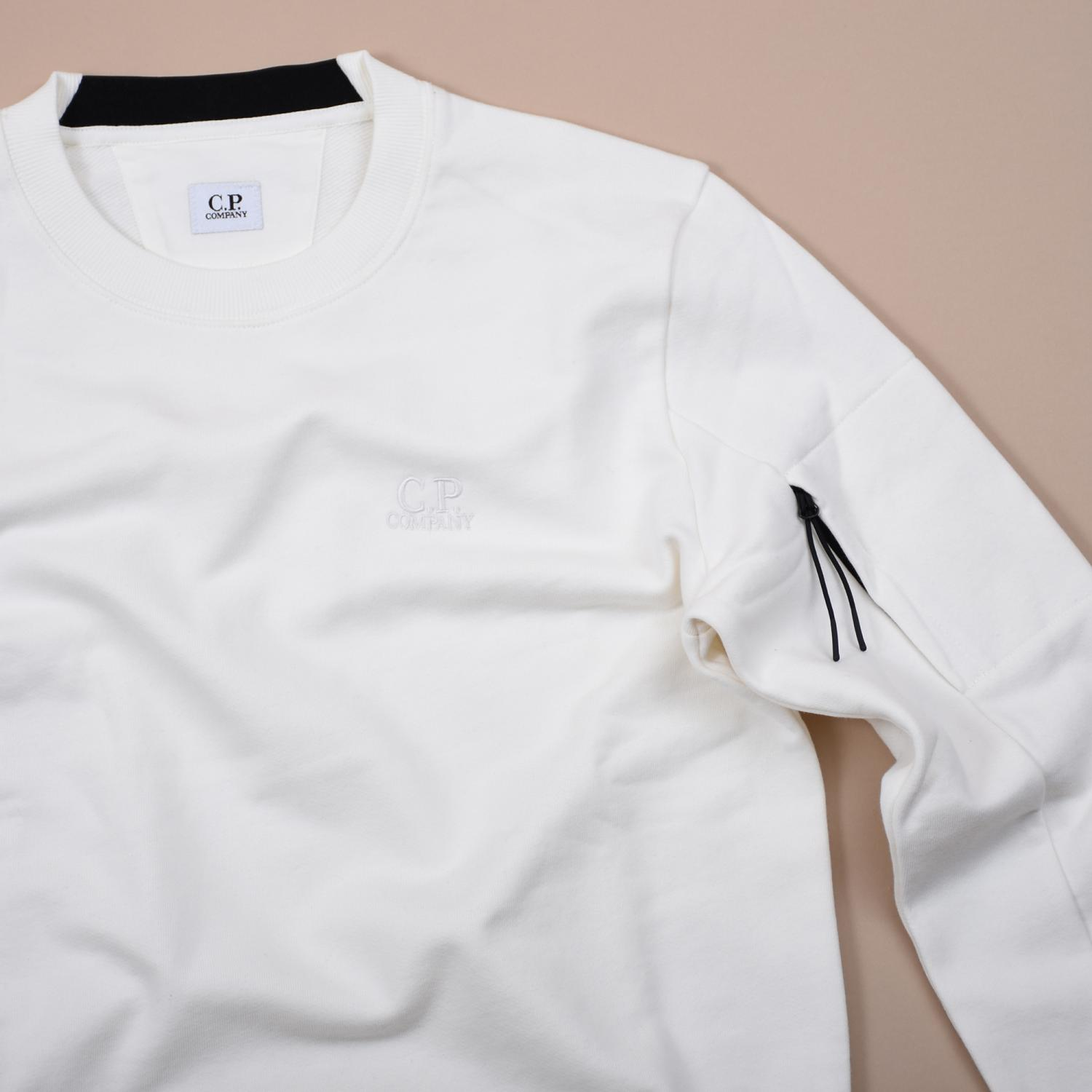 Diagonal Raised Fleece Crew Sweater White