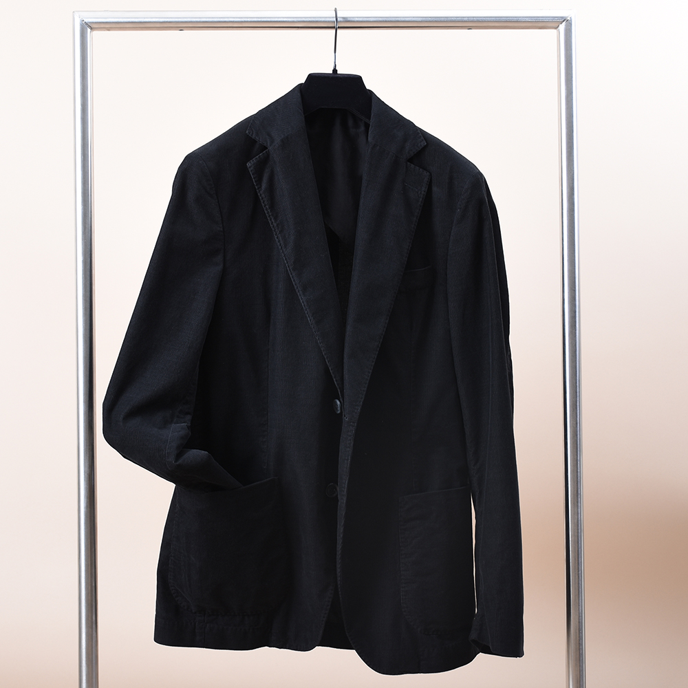 Egel Corduroy Patch Blazer Black
