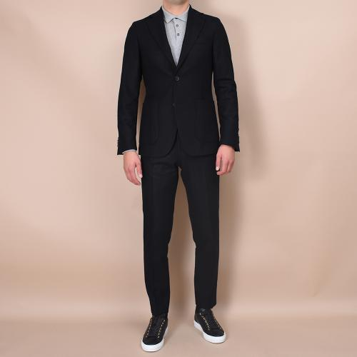 Egel Flannel Patch Suit Black