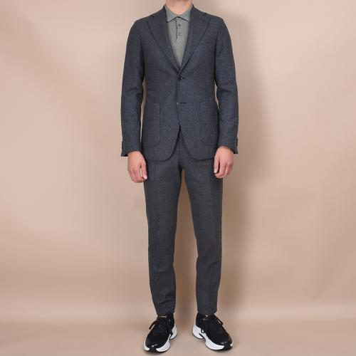 Egel Flannel Patch Suit Dark Grey