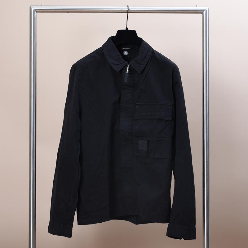 Garment Dyed Emerized Gabardine Zipped Shirt