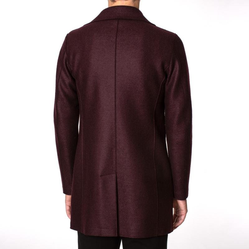 Long Peacoat Pressed Wool Red