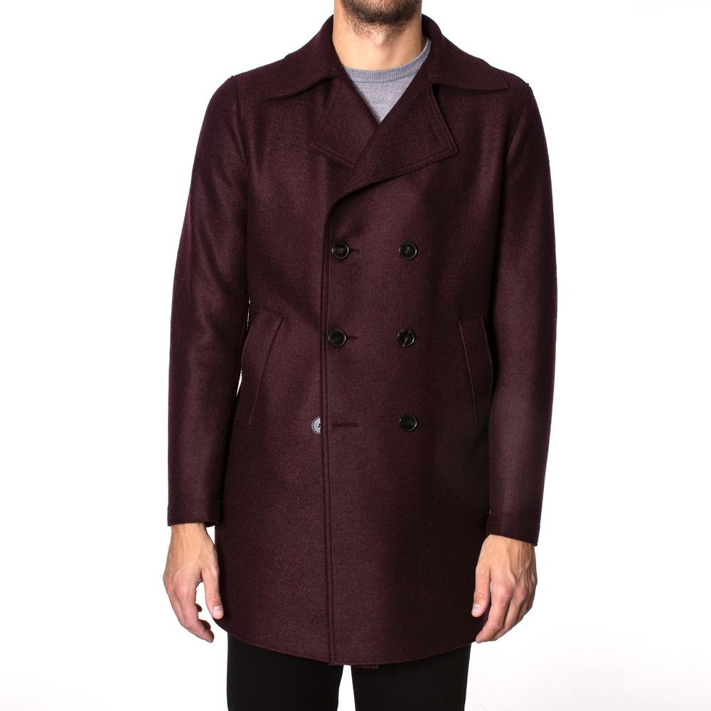 Long Peacoat Pressed Wool Red
