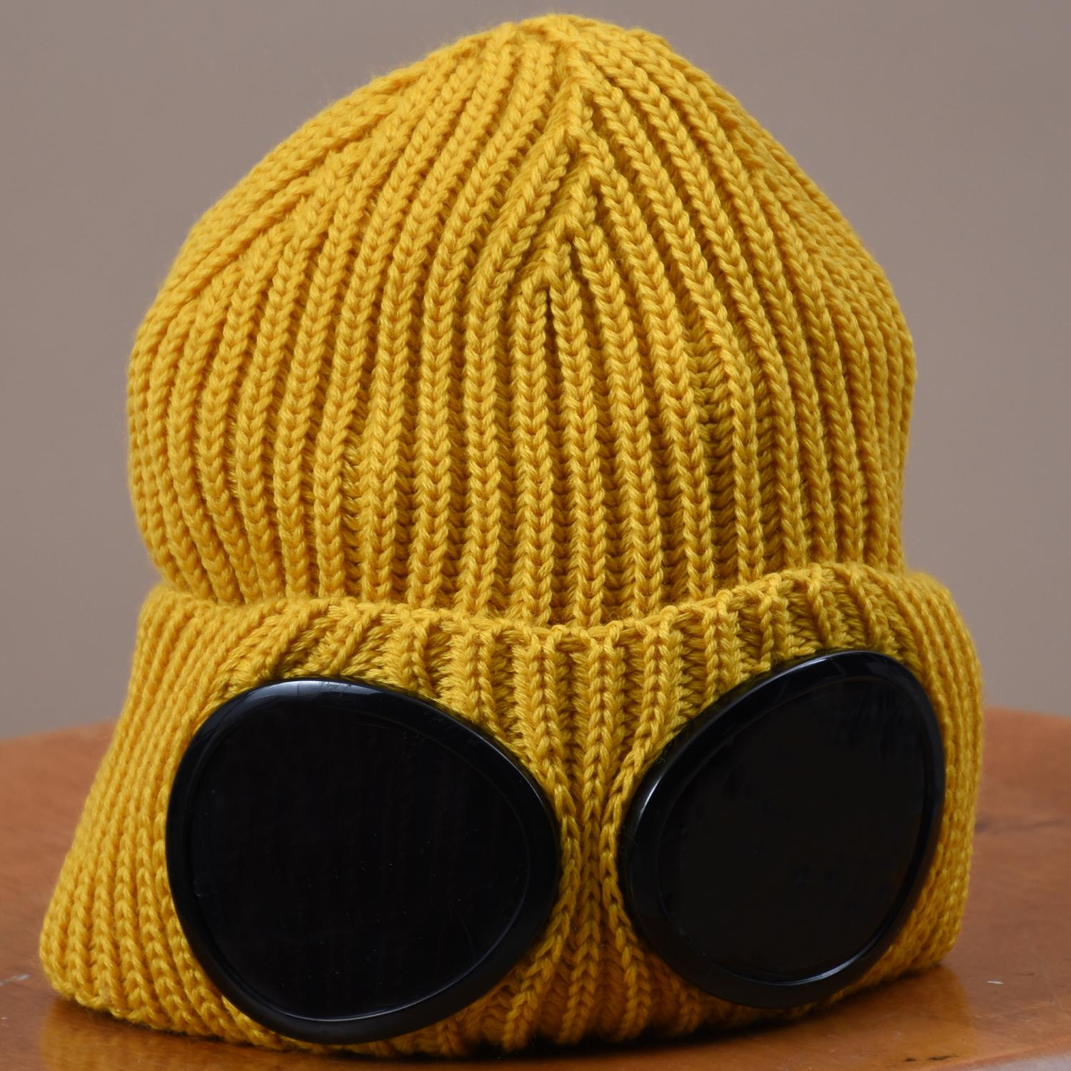 Merino Wool Goggle Beanie Yellow