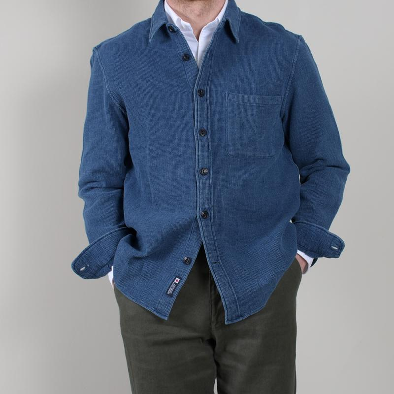 New Standard Shirt Indigo Dobby Waffle-Light Wash