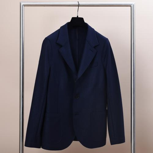 Standing Collar Blazer Light Pressed Wool Navy