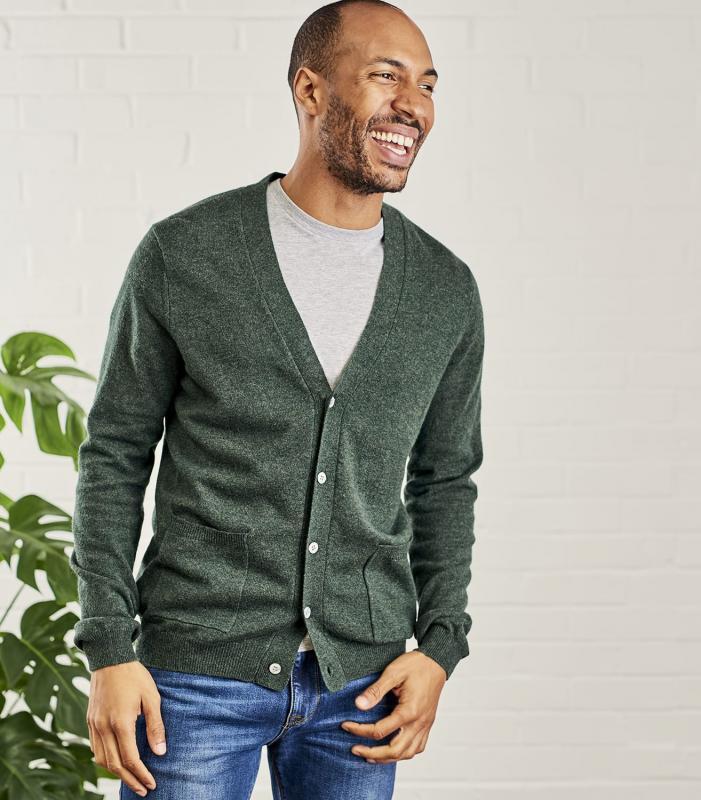 Cardigan cashmere/merino - Tweed Green