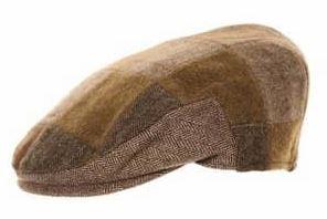 Hawkins Mix Patchwork Flat Cap - brun