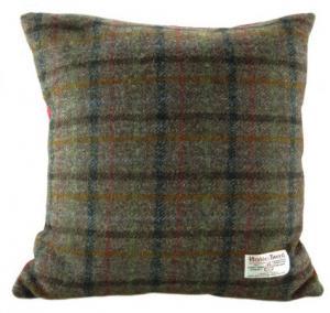 Harris Tweed - kudde - brun tartan